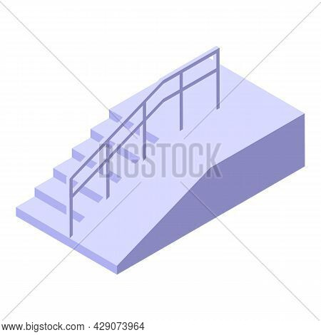 Accessible Stairs Icon Isometric Vector. Wheelchair Access. Stairs Ramp