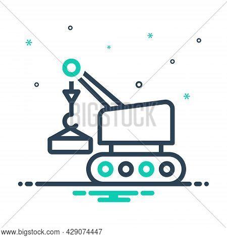 Mix Icon For Lifting Crane Vehicle Pneumatic Machine Construction Hydraulic Cargo Machinery