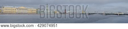 Panorama Of The Neva River In The Historic Center Of St. Petersburg On A Cloudy February Day. Russia