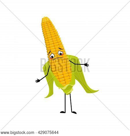 Cute Corn Cob Character With Sad Emotions, Depressed Face, Down Eyes, Arms And Legs. Funny Yellow Ve