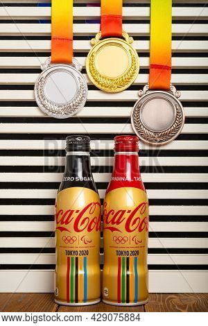 Zhongshan China-august 6,2021:bottles Of Zero Sugar And Original Taste Colas Made By Coca-cola Speci