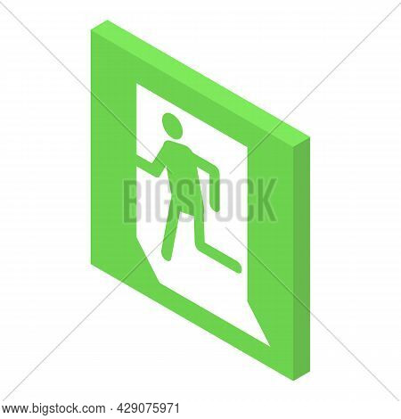 Evacuation Sign Icon Isometric Vector. Emergency Exit. Safety Escape