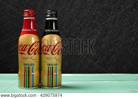 Zhongshan China-july 31,2021:bottles Of Zero Sugar And Original Taste Colas Made By Coca-cola Specia