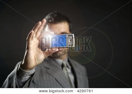 Businessman Taking Photos, Mobile Camera