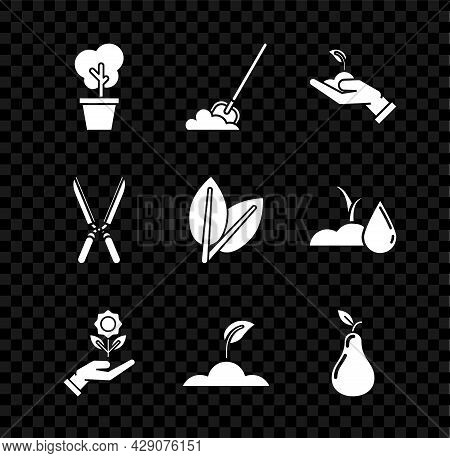 Set Tree In Pot, Shovel The Ground, Sprout Hand Of Environmental Protection, Hand Holding Flower, Pe