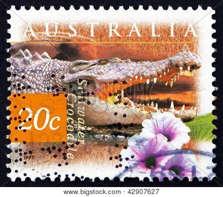 Postage Stamp Australia 1997 Saltwater Crocodile And Kangkong Fl