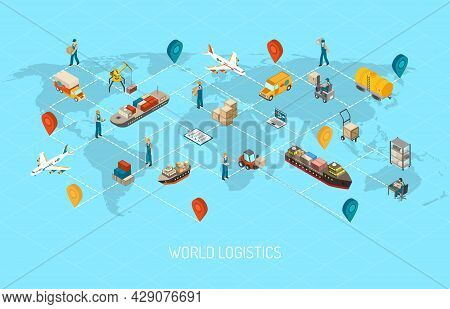 International Logistic Company Worldwide Operations With Cargo Distribution Shipment And Transportat