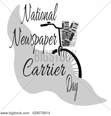 National Newspaper Carrier Day, Newspaper Delivery Bike Silhouette Vector Illustration