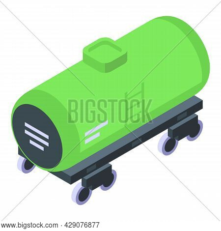 Wagon Tank Icon Isometric Vector. Car Train. Railway Wagon
