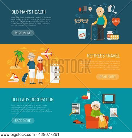 Old People Daily Life And Health Issues 3 Flat Horizontal Banners Webpage Design Abstract Isolated V