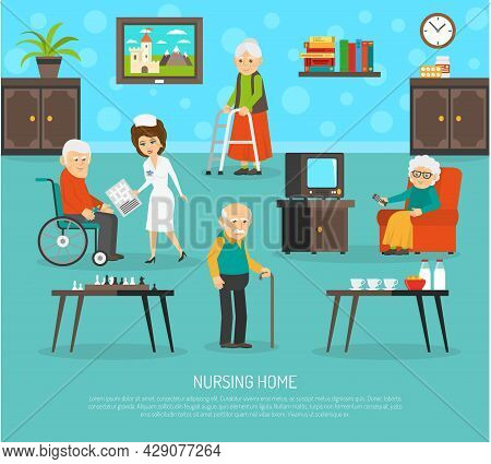 Gerontology Nursing Flat Poster With Personal Skilled Assistant Aid  In Old People Home Flat Poster