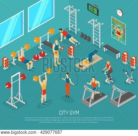 City Fitness Workout Gym Center With Equipment For Strength And Cardio Exercises Isomeric Poster Abs
