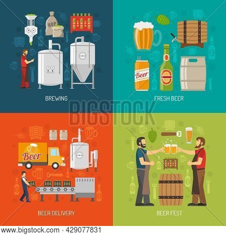 Brewery Flat Concept. Brewery Icons Set. Brewery Vector Illustration. Brewery And Beer Symbols. Brew