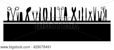 Surgical Instruments. Opera Medicine. Background Illustration. Medicines And Services Of A Cardiolog