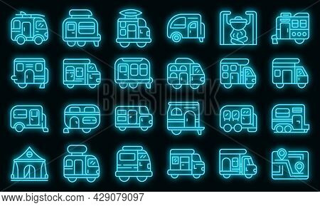 Auto Camping Icons Set. Outline Set Of Auto Camping Vector Icons Neon Color On Black