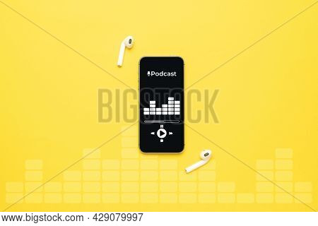 Podcast Background. Mobile Smartphone Screen With Podcast Application, Sound Headphones. Audio Voice