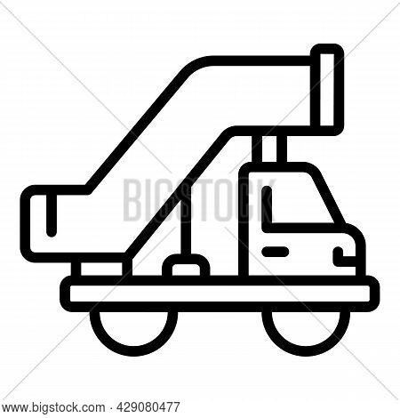 Airplane Stairs Truck Icon Outline Vector. Airport Plane. Aircraft Passenger