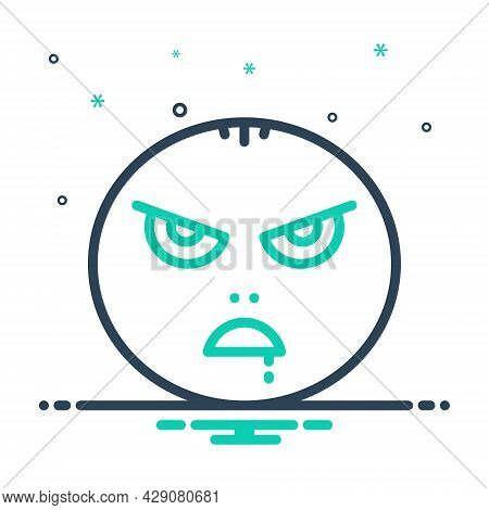 Mix Icon For Mad Insane Maniac Raving Wild Demented Emoji Character Angry