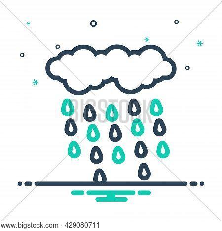 Mix Icon For Rain Rainfall Precipitation Raindrops Wet-weather Wet Weather Drizzle Rainstorm Cloudbu
