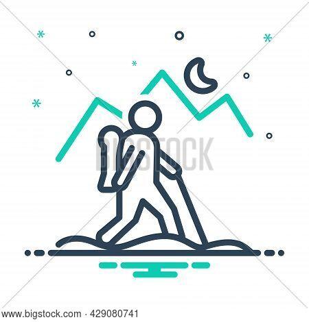 Mix Icon For Wander Rove Peregrinate Tramp Stroller Nomad Migratory Emigrant Traipse Trudge Adventur