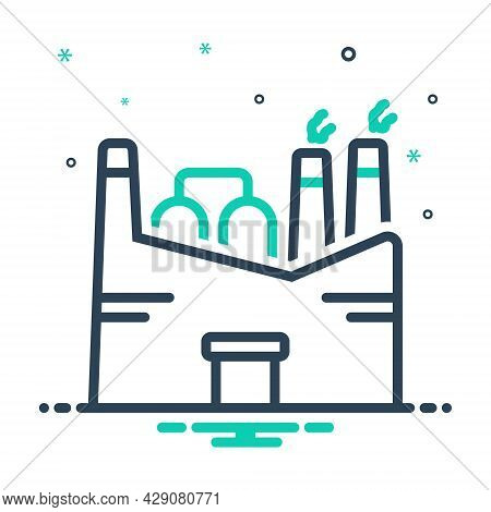 Mix Icon For Factory Plant Manufacturing Industry Smokestack Chemical Mill Nuclear-plant Refinery Ha