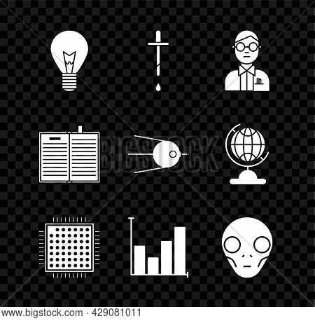 Set Light Bulb With Concept Of Idea, Pipette, Scientist, Processor, Pie Chart Infographic, Extraterr