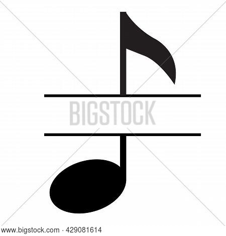 Music Note Name Frame On White Background. Note Monogram Sign. Music Note Split Symbol. Flat Style.