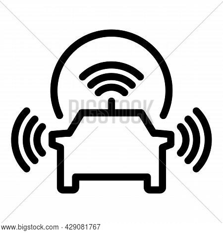 Car Multi Sensor Icon Outline Vector. Front Road. Security Vehicle