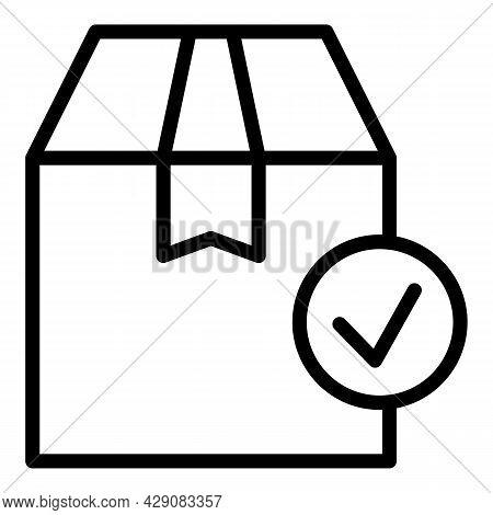 Delivered Parcel Icon Outline Vector. Door Courier. Deliver Service