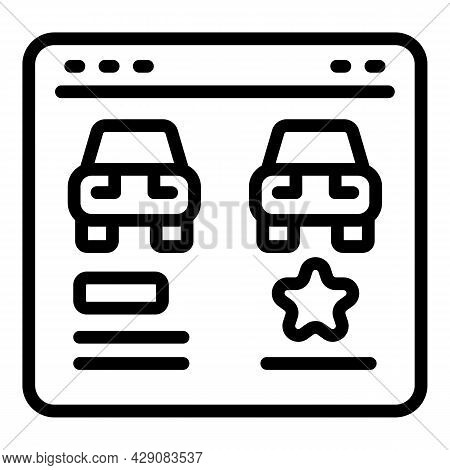 Featured Car Icon Outline Vector. Online Vehicle. Drive Review