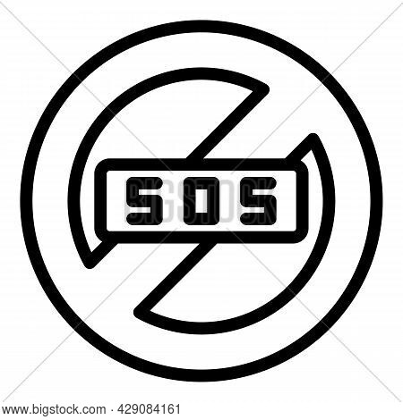 Sos Restricted Icon Outline Vector. Emergency Call. Alarm Button