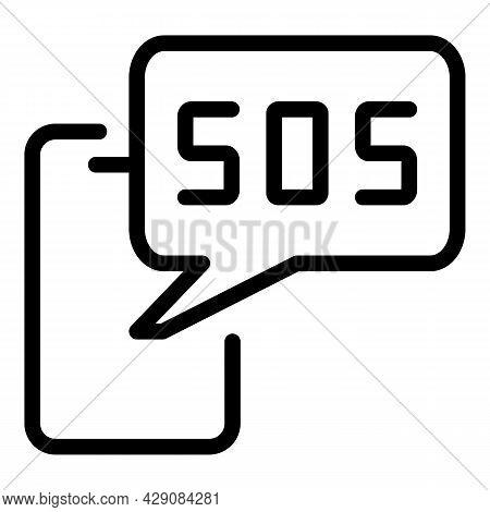 Smartphone Sos Icon Outline Vector. Emergency Call. Hotline Call