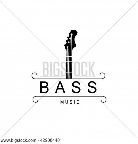 Bass Guitar Music Western Vintage Retro Saloon Bar Logo Design
