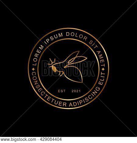 Premium Honest Gold Bee Logo Design Continuous Line Art Style