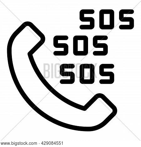 Sos Call Safety Icon Outline Vector. Phone Bell. Risk Crisis