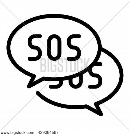 Sos Chat Icon Outline Vector. Emergency Call. Alarm Help