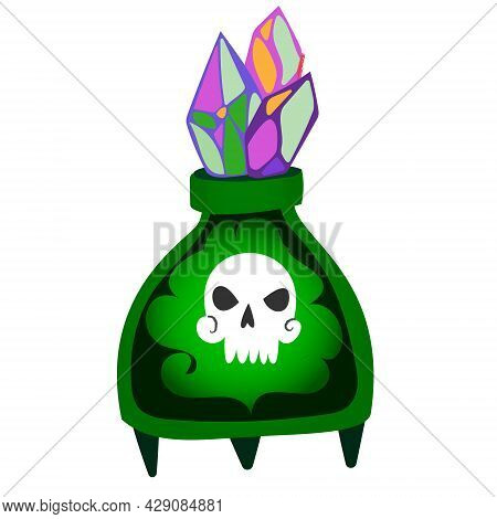Magic Witch Potion. Black Magic Substance In A Bottle. Vector Halloween Clipart Bottle With Spirit I