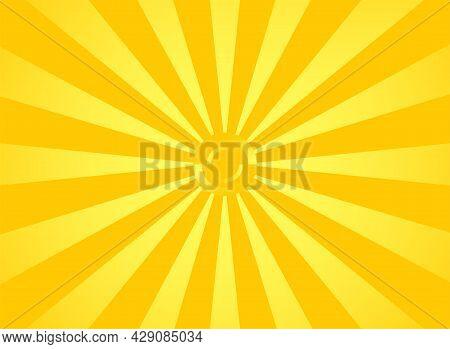 Orange Sunbeams Star, Light Yellow Flash. Spinning Burst Of Sunlight
