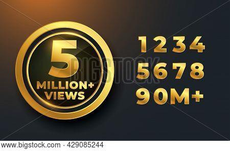 5 Million Or 5m Views Golden Label Badge Design Vector Illustration