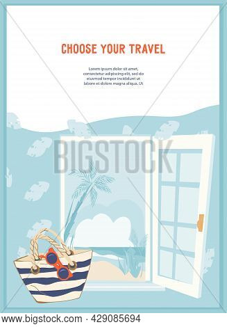 Summer Vacation Banner Or Card Template With Door Open To Tropical Beach, Flat Vector Illustration.