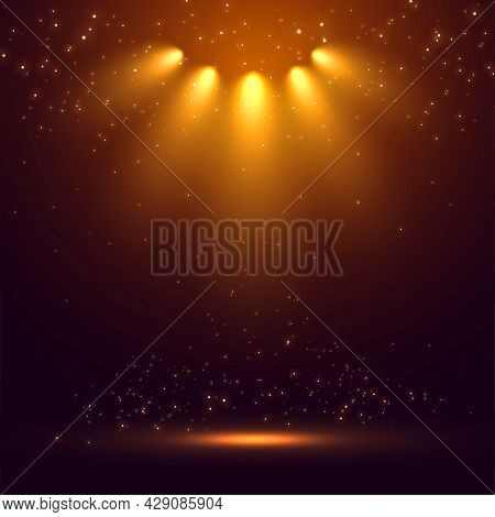 Stage Spot Lights Rays Glowing Background Design Vector Illustration