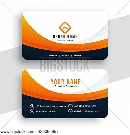Professional Orange Business Calling Card Design Vector Illustration