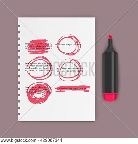 Set Of Hand Drawn Highlighter Design Elements, Marks, Stripes And Strokes. Can Be Used For Text High