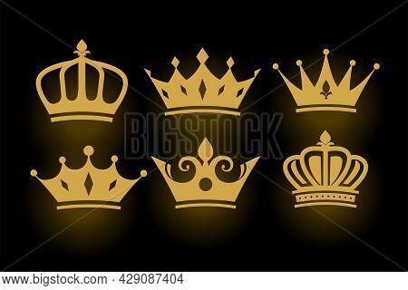 Golden Decorative King And Queen Crowns Set Design Vector Illustration