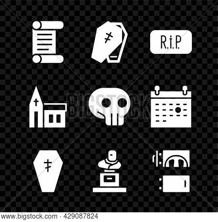 Set Decree, Parchment, Scroll, Coffin With Cross, Speech Bubble Rip Death, Grave Tombstone, Cremator