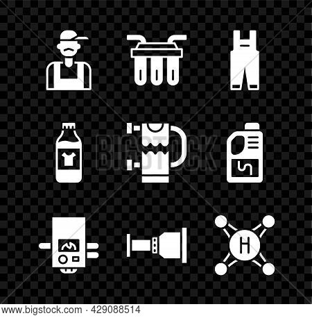 Set Plumber, Water Filter, Work Overalls, Gas Boiler, Pipe Adapter, Tap, Bottle For Cleaning Agent A