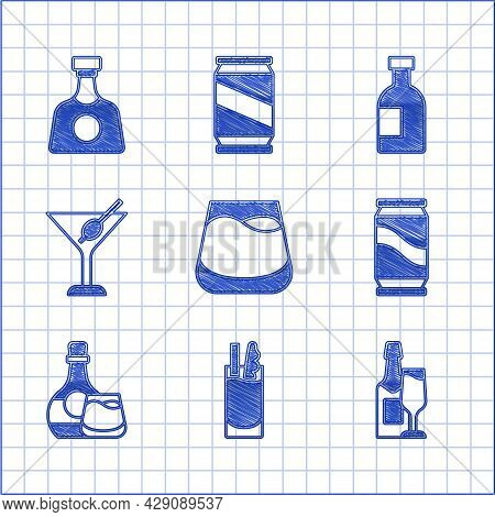 Set Glass Of Whiskey, Cocktail Bloody Mary, Champagne Bottle And Glass, Beer Can, Whiskey, Martini,