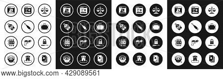 Set Scales Of Justice, Bullet, Whiskey Bottle, Internet Piracy, Briefcase And Money, System Bug, Loc