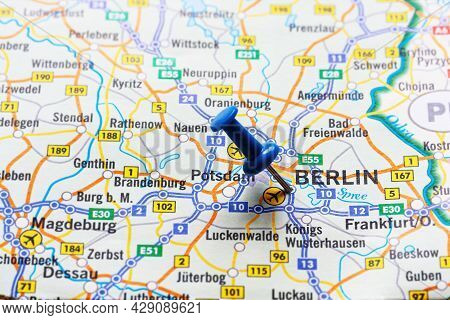 Close-up Of Berlin Marked On Germany Map With Blue Pushpin - Travel Concept. Selective Focus