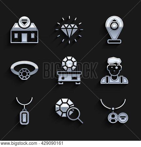 Set Gem Stone, Locket Necklace, Jeweler Man, Pendant, Diamond Engagement Ring, Jewelry Store And Ico